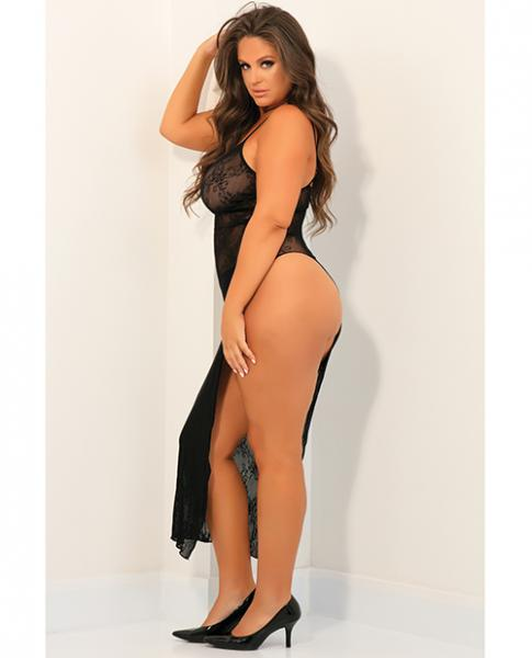Rene Rofe Take The Heat Lace Gown Black O/Q