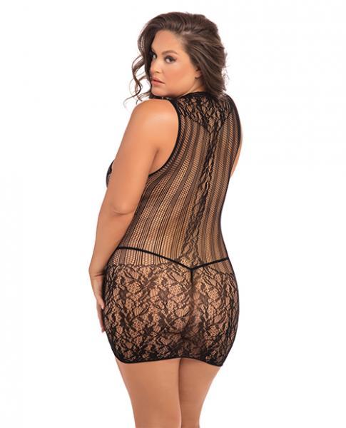 Rene Rofe Reckless Lace Mini Dress Black 1X/3X