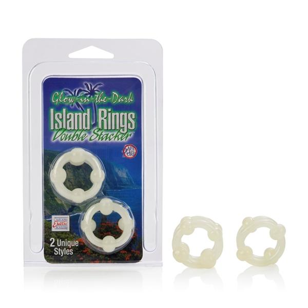 Island rings double stacker glow in the dark
