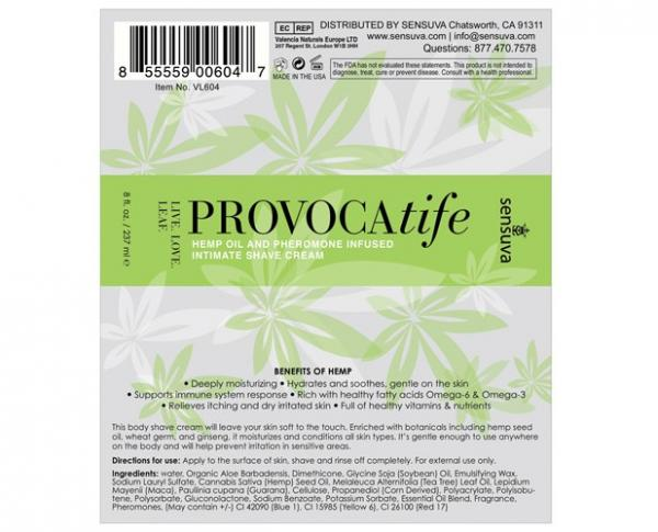 Provocatife Hemp Oil Shave Cream with Pheromones 8oz