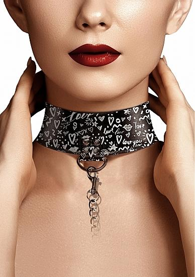 Shots Ouch Love Street Art Fashion Printed Collar W/leash - Black