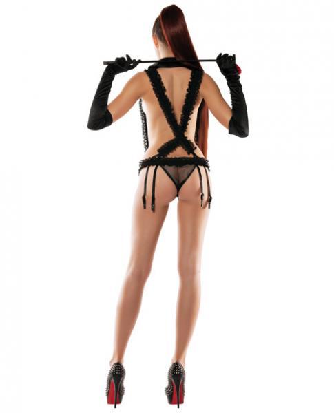 Lace Suspender Playsuit Neck Collar, Gartered Panty & Eye Mask Black S/M