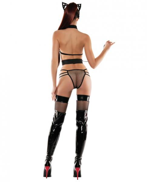 Role Play Mesh Top, Panty Collar, Leash, Mask & Cat Ears Black S/M