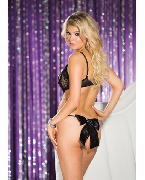 Stretch Lace Mesh Open Bust Teddy Black Small
