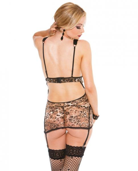 Lace Gartered Chemise & G-String Leopard Small