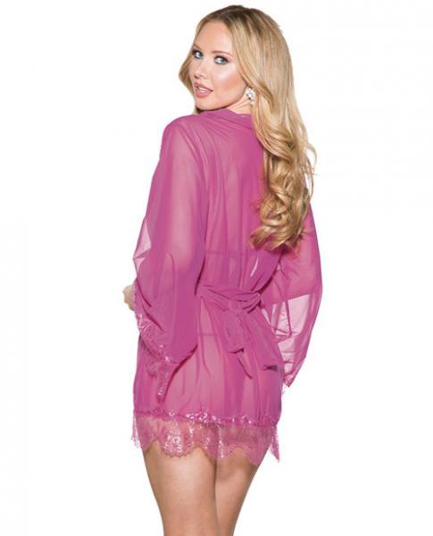 Mesh Robe Lace Trim Bell Sleeves, Tri Top & G-String Purple 2X