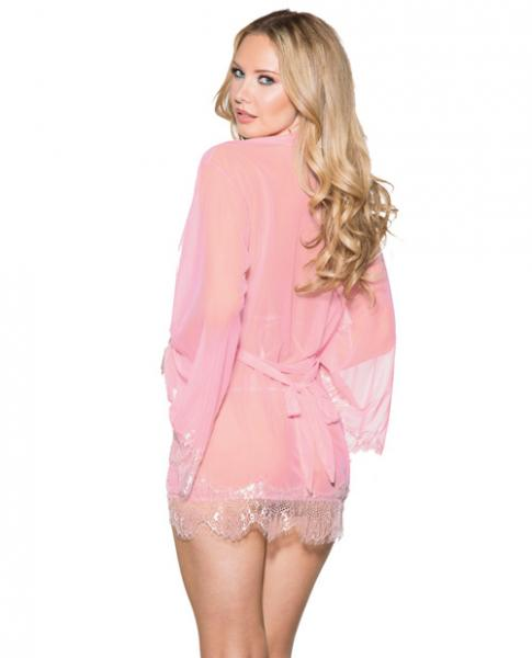 Mesh Robe Lace Trim Bell Sleeves, Tri Top & G-String Pink L