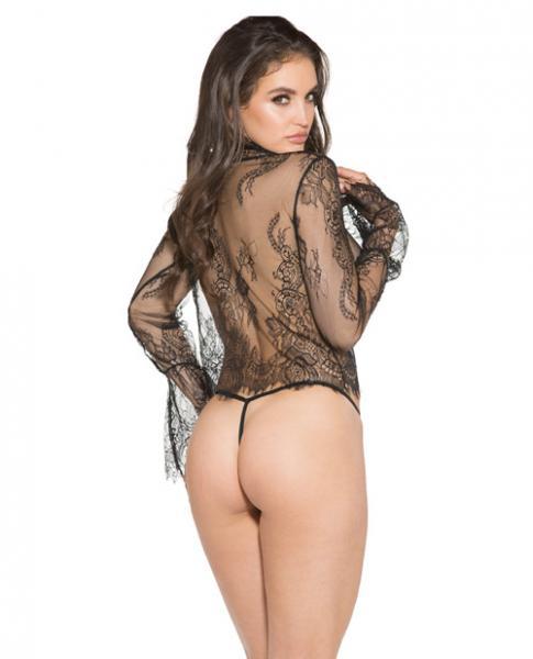 Sheer Lace Long Sleeve Shirt Black Small