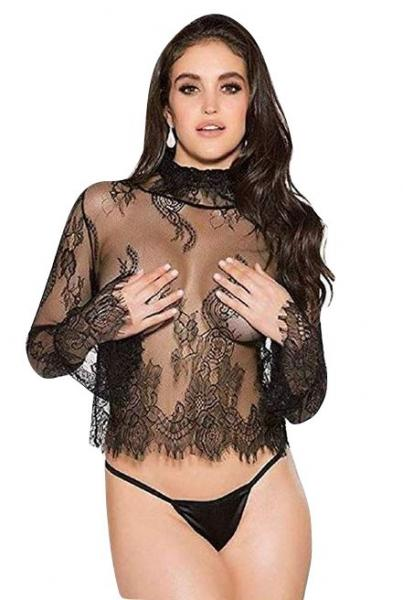 Sheer Lace Long Sleeve Shirt Black XL