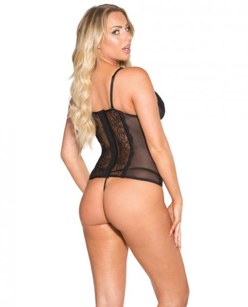 Sheer, Lace Bustier With G-String Black Medium