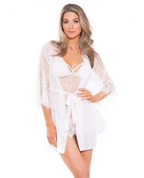 Lace Peignoir Set with Bra & G-String White Medium