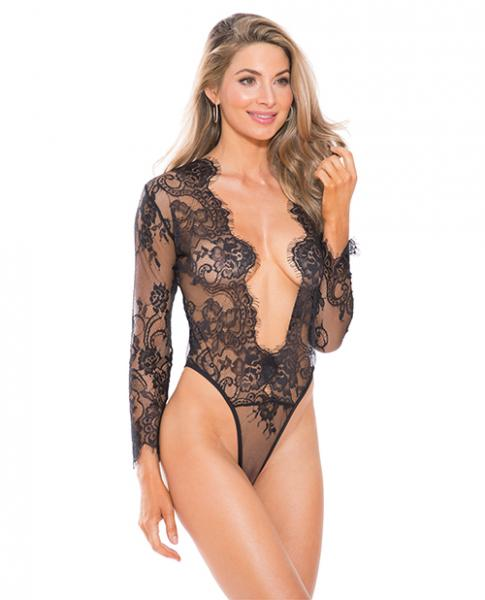 Lace Teddy Black Long Sleeves Medium