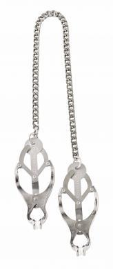 Endurance Butterfly Nipple Clamps Jewel Chain Silver