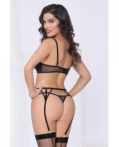 Netting Bra Lace Applique, Garter Belt & Thong Black Sm