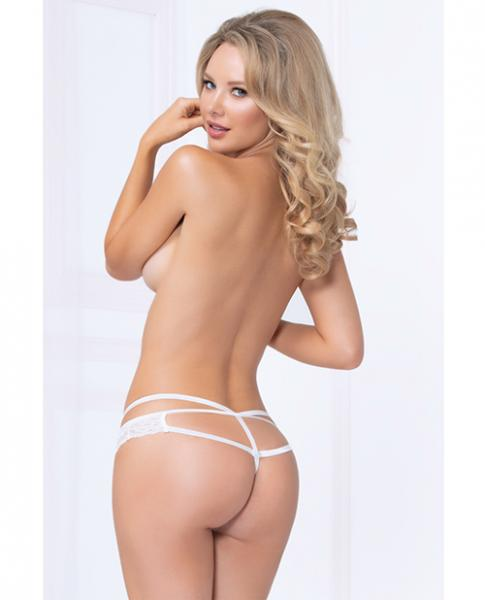 Strappy Lace Thong Plunging V Detail White Small