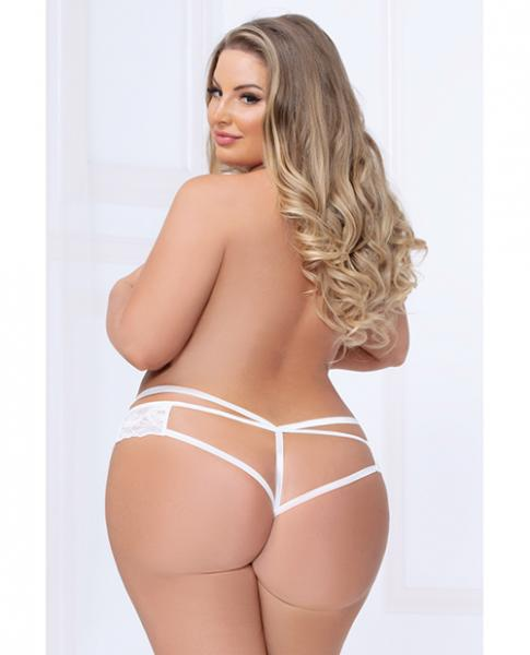 Strappy Lace Thong Plunging V Detail White 3X/4X