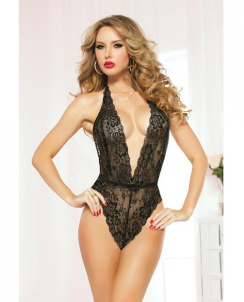 Lace Teddy Halter Satin Ties & Snap Crotch Black O/S
