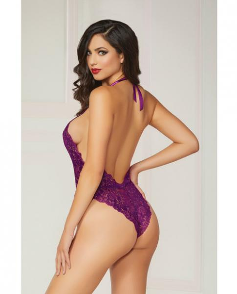Floral Lace Teddy Halter Ties & Snap Crotch Purple O/S