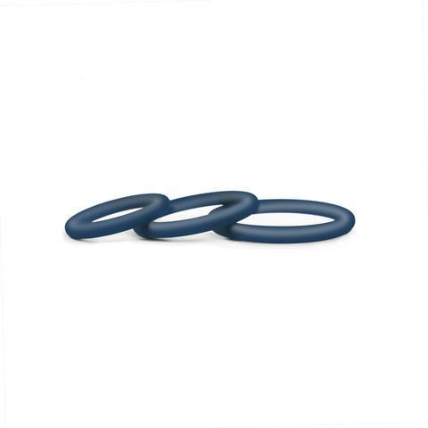 Hombre Snug Fit Silicone Thin C-Rings Navy 3 Pack