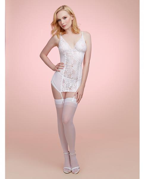 Mesh, Lace Garterslip with Tulle Back White O/S