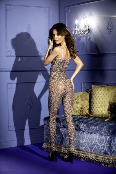 Leopard Print Crotchless Bodystocking Bows O/S