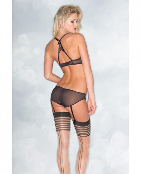 Satin Lace Bra & Panty Detachable Straps Black Navy L