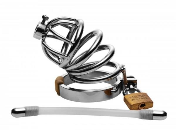 Chastity Cage with Flexible Urethral Plug