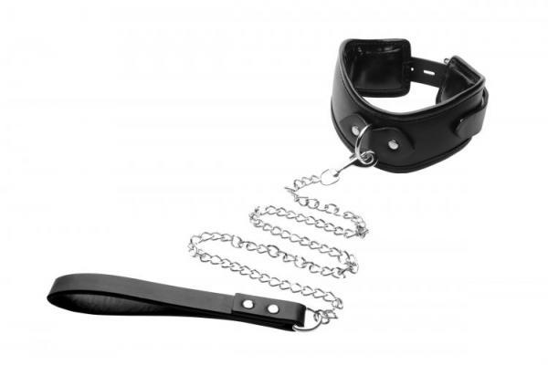 Strict Padded Locking Posture Collar Black With Leash Black