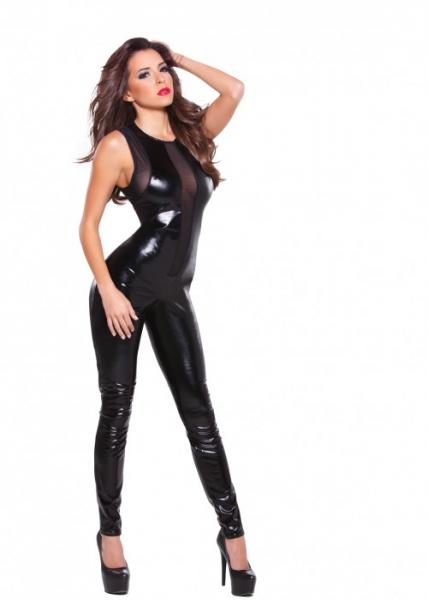 Kitten Wet Look & Mesh Black Catsuit O/S