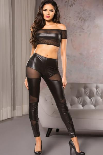 Kitten Wet Look Cutaway Mesh Pants Black S/M