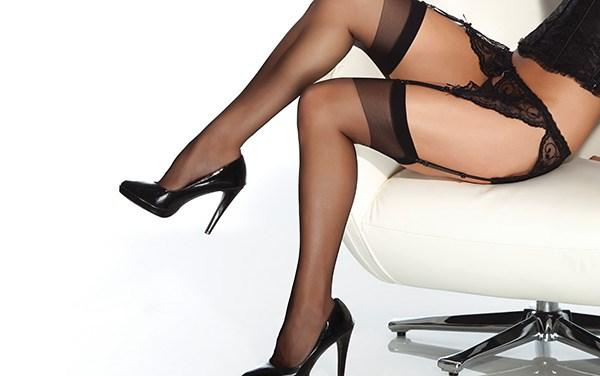 Sheer Thigh High Stockings Black OS/XL