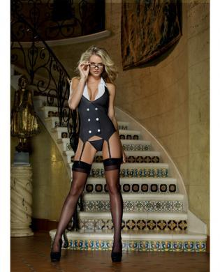 3 pc Working Late Pinstripe Knit Vest Garter, Thong -  Black O/S