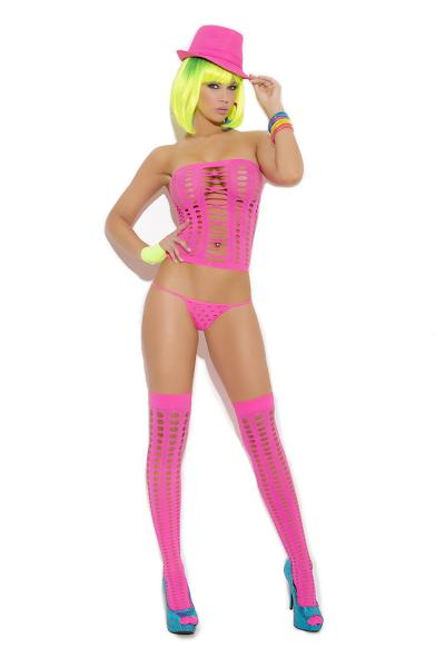 Vivace G String & Stockings Neon Pink O/s