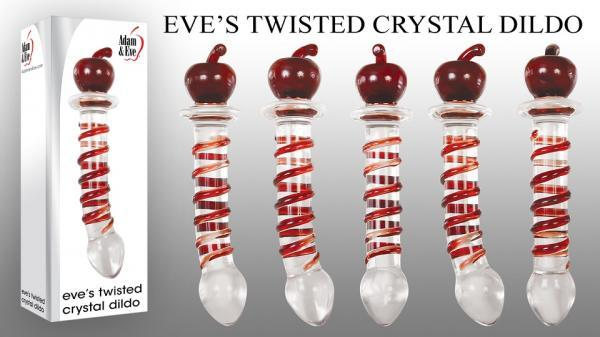 Eve's Twisted Crystal Dildo Clear with Red Ribbon Glass