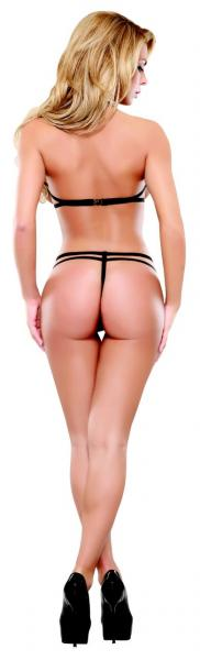 Lace V-Teddy Black S/M (Bands Of Lace)