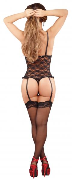 Luv Lace Cupless Crotchless Teddy Black Queen