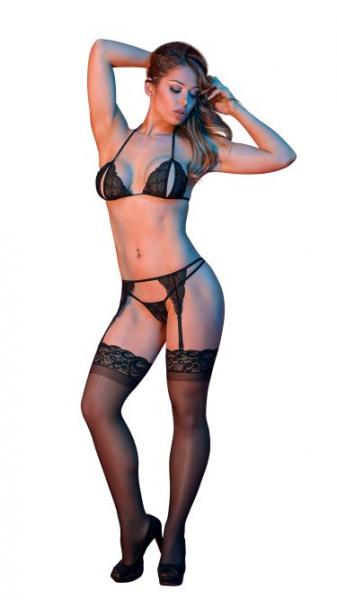 Sexy Time Peek-A-Boo Bra Garter & G-String Set Black L/XL