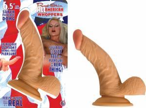 All American Whopper With Balls 6.5 Inches Dildo Beige