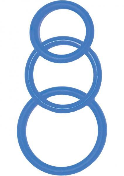 Super Silicone Cockrings - 3 Sizes - Blue