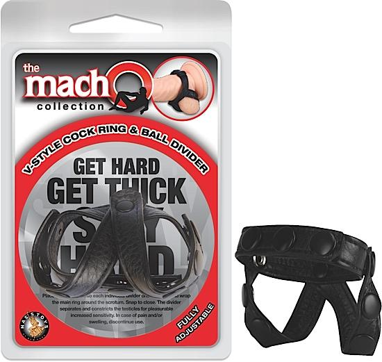 Macho V Style Cock Ring and Ball Divider Black