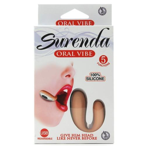 Surenda Silicone Oral Vibe 5 Function USB Rechargeable Waterproof - Beige
