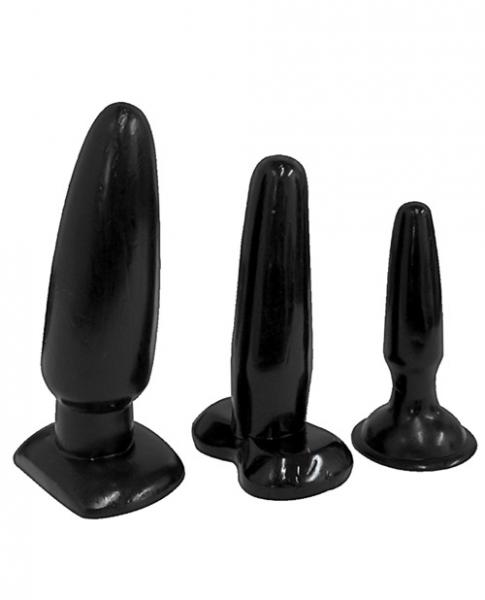 Anal Training Butt Plugs Black 3 Sizes