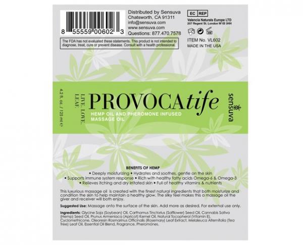 Provocatife Hemp Oil & Pheromone Infused Massage Oil 4.2oz