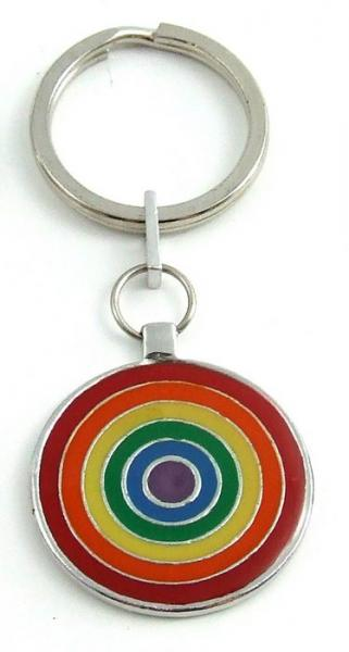 Gaysentials Rainbow Pewter Key Chain Circles