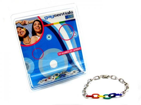 Gaysentials Rainbow and Silver Links Bracelet