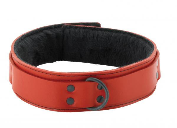 1.5 inch Red Leather Collar