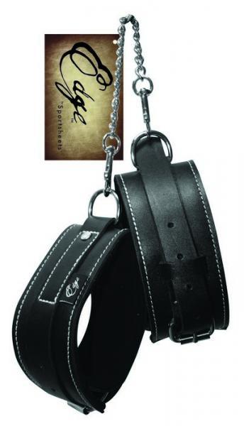 Edge Leather Ankle Restraints Black