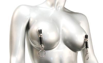 Adjustable Bondage Ring Barrel Nipple Clamps