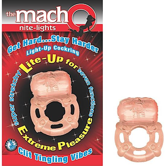 Macho Nite Lights Vibrating Cock Ring Beige