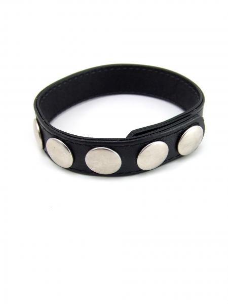 M2M Cock Ring Sewn Leather 5 Snaps Black